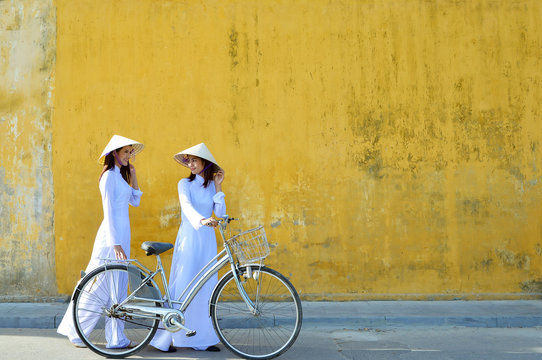 Beautiful  woman with Vietnam culture traditional ,vintage style,Hoi an Vietnam