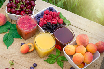 Healthy fruit juice - smoothie and organic fruits