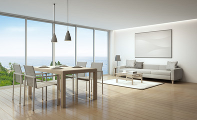 Sea view living room and dining room in luxury house- 3D rendering