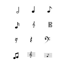 Vector musical notes icons set