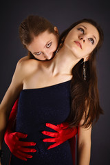 Two young girls portrayed vampire and sacrifice