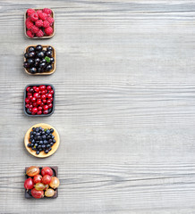 Raspberry, Bilberry, Gooseberry, Cranberry and Currant on wooden background. Top view, high resolution product.