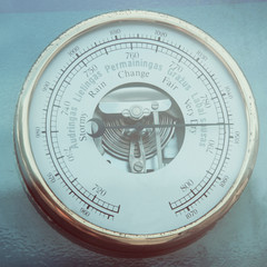 Retro barometer close up photo in vintage style