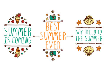 Set of summer hand-sketched elements