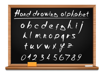School hand drawing alphabet. Doodle font. Letters and numbers written in chalk on a blackboard.  Vector font