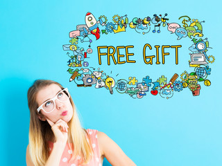 Free Gift concept with young woman