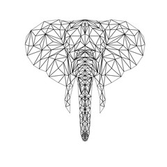 Vector elephant illustration for tattoo, coloring, wallpaper and printing on t-shirts. Silhouette animal in thin line style. Abstract mammal low poly design.