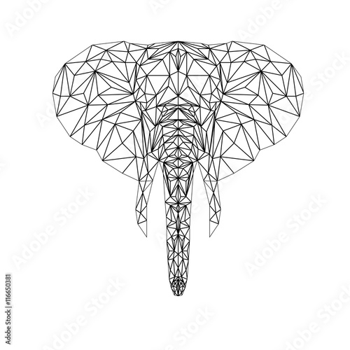 Elephant Line Drawing Tattoo : Quot vector elephant illustration for tattoo coloring