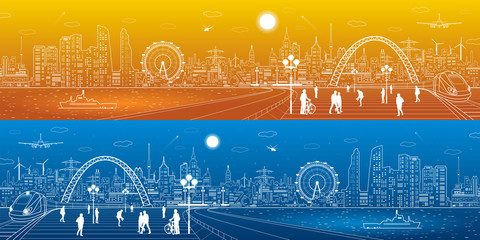 Amazing infrastructure and transport panorama. Train move, railway station, town square, people walk, ships on the water, day and night city skyline, arch bridge, airplane fly, vector design art