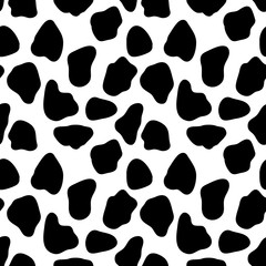 Cow seamless pattern, abstract vector background with bkack spots. Vector seamless cow skin pattern. Pattern for milk and farm production