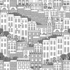 Hand drawn seamless pattern of Dublin city
