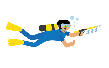 Poster Superheroes Scuba diver isolated
