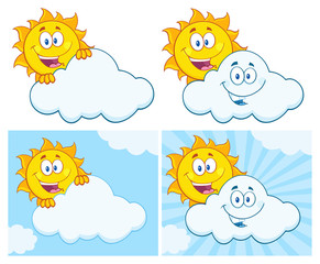 Sun Cartoon Mascot Character 18. Set Collection Isolated On White Background