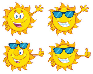 Sun Cartoon Mascot Character 28. Set Collection Isolated On White Background