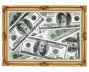 Picture in the old golden frame - money - dollars
