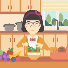 Woman cooking vegetable salad vector illustration.
