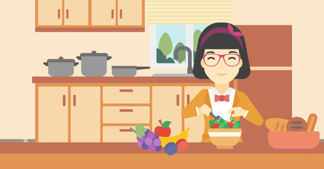 Woman cooking vegetable salad vector illustration.