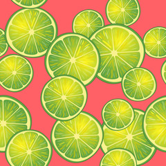 Vector illustration of lime slices on red background in different angles. Pattern.