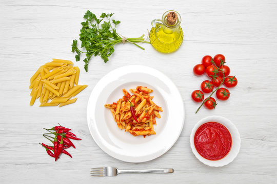 dish with penne and arrabbiata sauce