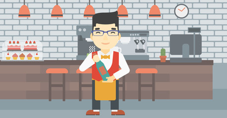 Waiter holding bottle of wine vector illustration.