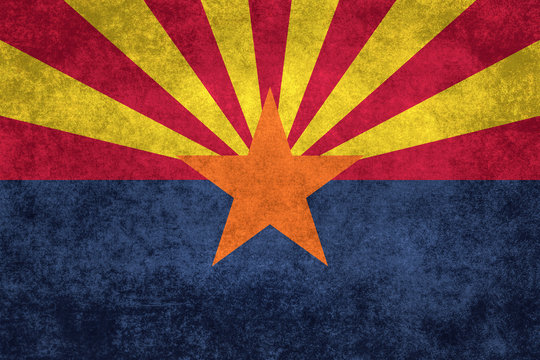 Arizona state flag with vintage retro style textures