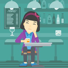 Woman drinking at the bar vector illustration.