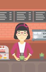 Woman making coffee vector illustration.