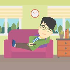 Man lying on sofa vector illustration.