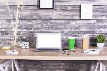 Creative desk white laptop