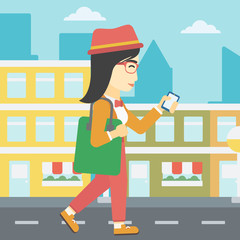 Woman walking with smartphone vector illustration.