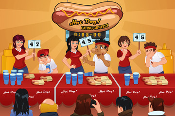 People in Hotdog Eating Contest