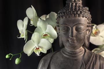 Fototapete - bouddha et Orchidée