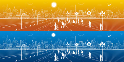 Amazing city panorama, people walk on the street, city's skyline on background, urban life, neon town, day and night, vector design art