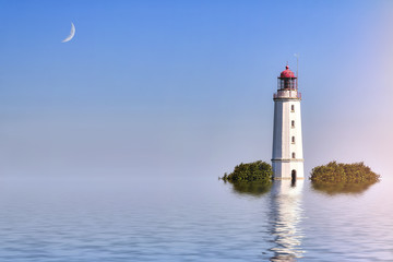 ocean landscape with lighthouse and moon