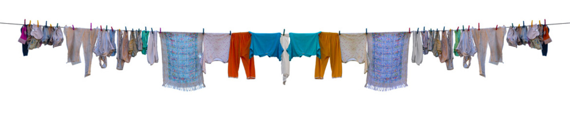 Underwear drying on a rope