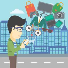 Man making purchases online vector illustration.