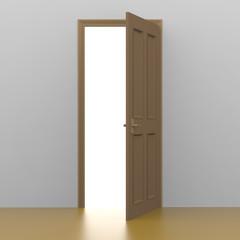 開けた茶色のドアから希望の光りが差し込むイメージの3Dレンダリング画像