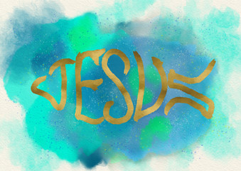 Jesus fish symbol. Christian logo. Watercolor.
