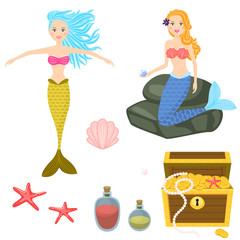 Foto op Canvas Zeemeermin Cartoon mermaids and treasure dower chest clip art vector graphics for game. Isolated sea life objects - treasure dower chest, shell, starfish, rocks.