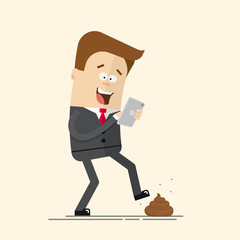 Phone relationship. Smartphone addiction. Play mobile games. Manager or a businessman with  telephone in danger. Feces on the road. Unpleasant unexpected surprise.