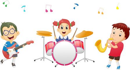 Illustration of kids playing music instrument