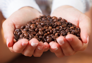 Female hands with coffee beans