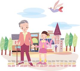おばあさんが孫とお散歩
