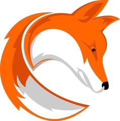 fox with tail logo illustration