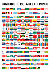 BANDERAS DE 190 PAISES DEL MUNDO (FLAGS OF THE WORLD 190 COUNTRIES in Spanish language)