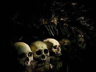 Human skulls and femurs are left to decompose naturally in an open-air cemetery in Trunyan village, Kintamani, Bali, Indonesia.