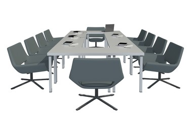 3D Illustration Office Furniture Table and Chairs Isolated On White