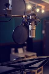Condenser Microphone in a music studio