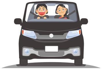 自動車でドライブするカップルのイメージイラスト