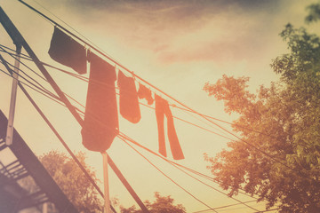 Clothesline Afternoon Glow. Clothesline on a warm summer afternoon. Edited in vintage style.